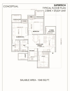 supertech sports village floor plan 3bhk 2toilet 1048 sq.ft