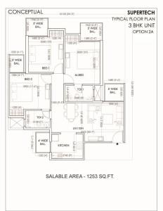 supertech sports village floor plan 3bhk 2toilet 1253 sq.ft