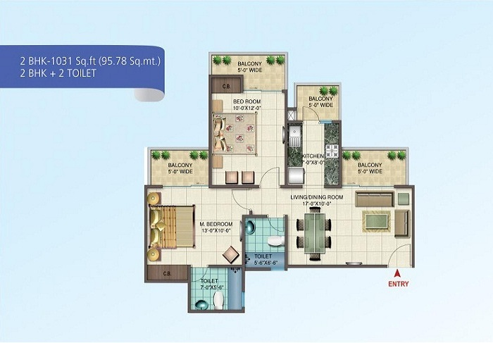 nirala splendora floor plan 2bhk 2toilet 1031 sq.ft