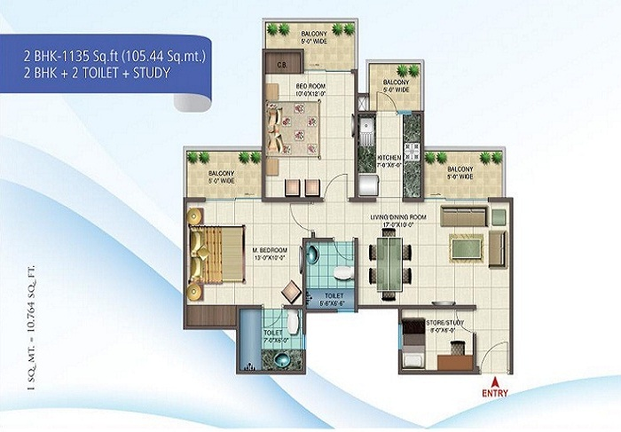 nirala splendora floor plan 2bhk 2toilet 1335 sq.ft