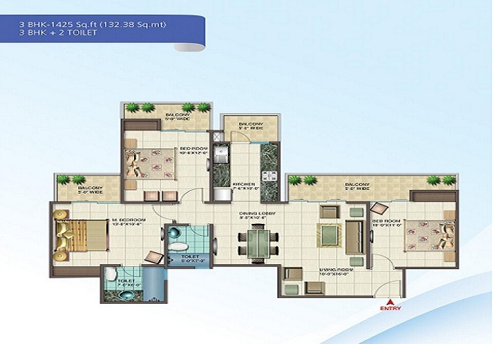 nirala splendora floor plan 3bhk 2toilet 1425 sq.ft