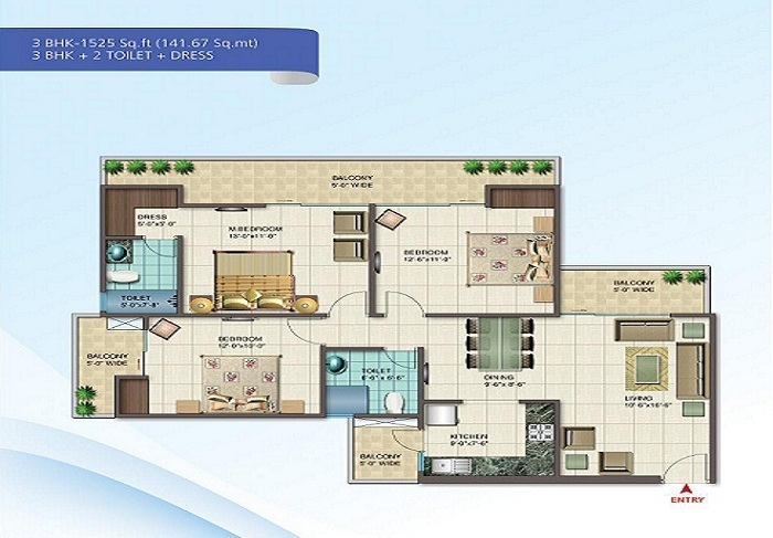 nirala splendora floor plan 3bhk 2toilet 1525 sq.ft