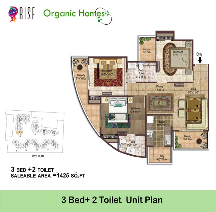 organic homes floor plan 3bhk 2toilet 1425 sq.ft