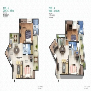 spacetech edana floor plan 2bhk 2toilet 1100 sq.ft1