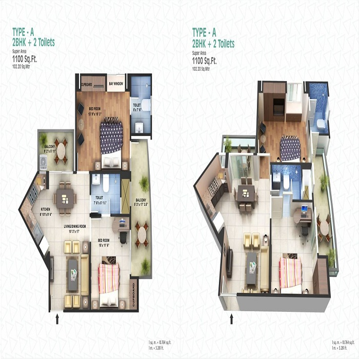 spacetech edana floor plan 2bhk 2toilet 1100 sq.ft1