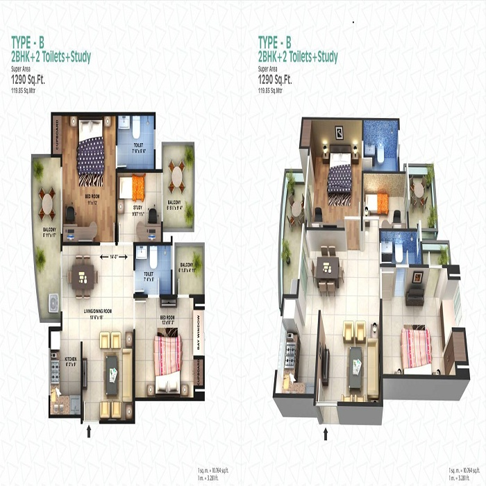 spacetech edana floor plan 2bhk 2toilet 1290 sq.ft