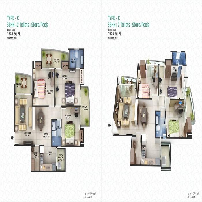 spacetech edana floor plan 3bhk 2toilet 1545 sq.ft