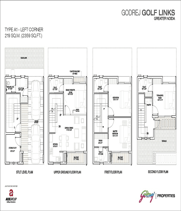 godrej golf links left corner floor plan 2359 sq.ft