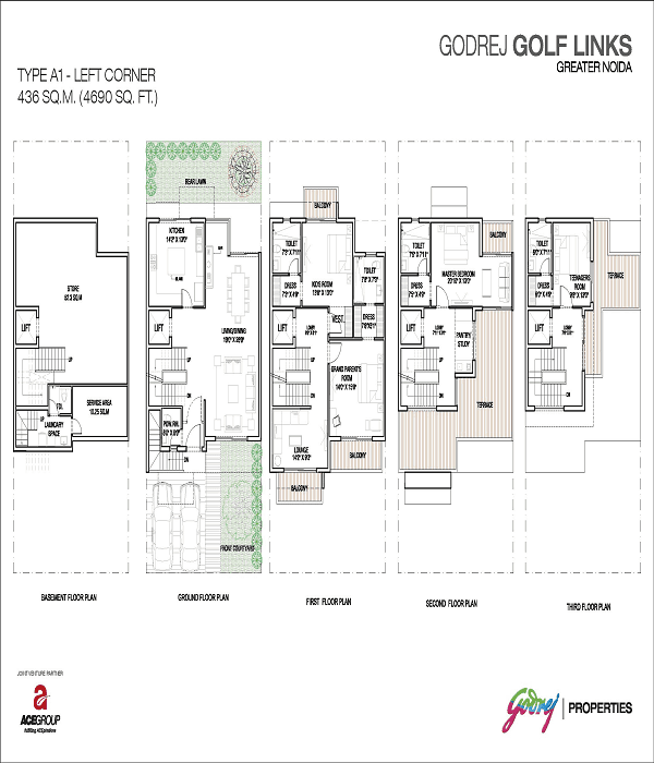 godrej golf links left corner floor plan 4690 sq.ft