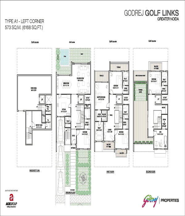 godrej golf links left corner floor plan 6168 sq.ft