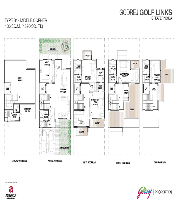 godrej golf links middle corner floor plan 4690 sq.ft