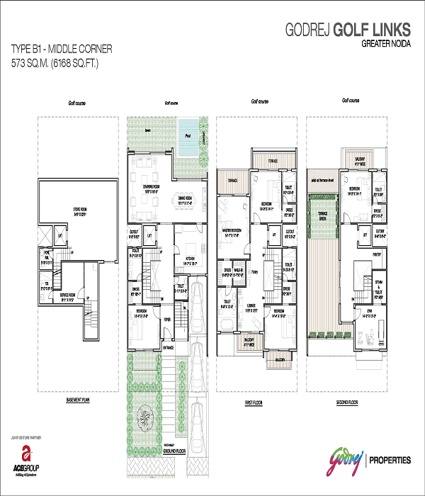 godrej golf links middle corner floor plan 6168 sq.ft