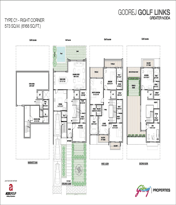 godrej golf links right corner floor plan 6168 sq.ft