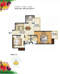 pigeon spring meadows floor plan 2bhk 2toilet 885 sq.ft