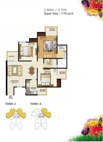 pigeon spring meadows floor plan 3bhk- 2toilet 1170 sq.ft