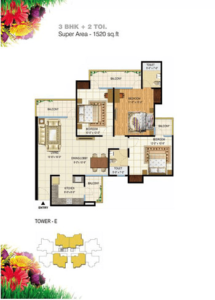 pigeon spring meadows floor plan 3bhk 2toilet 1520 sq.ft